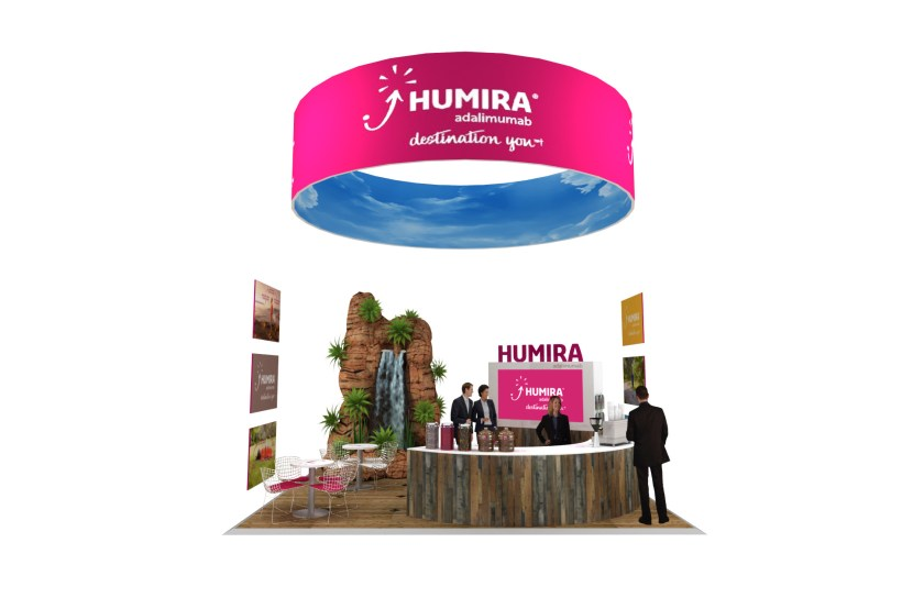 Displays for Humira at a trade show.
