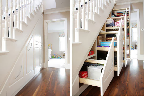 Hidden storage in staircase