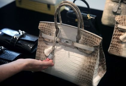 Record Breaking Hermes Berkin in White Himilayan Crocodile and Solid While gold diamond hardware