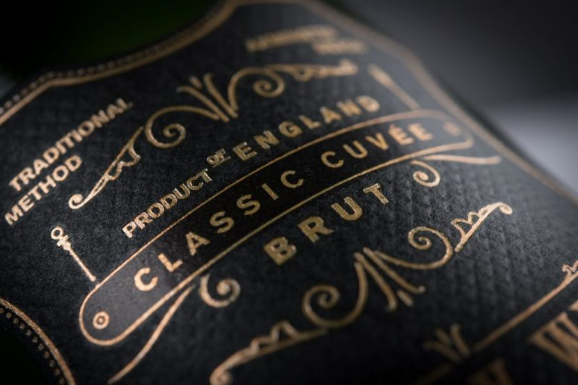 Lyme Bay English Sparkling Wine Gold Foil with classical typography and flolurishes by Supreme - DBA