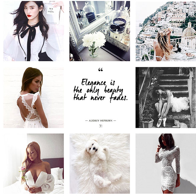 A black and white Instagram campaign theme for simplicity and elegance