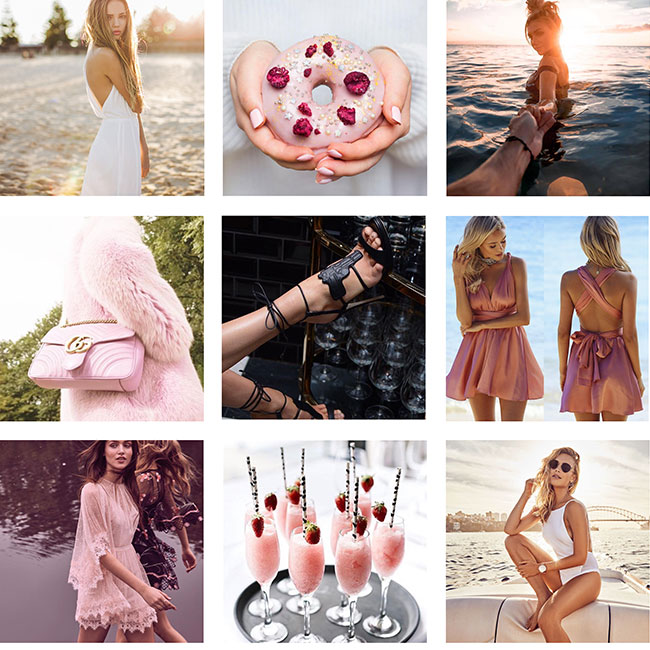 General overview for Instagram posts 3 x 3 grid, no specific theme except feminine, youthful and fun.