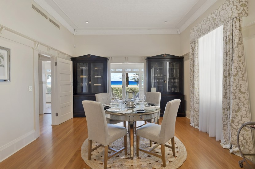 The dining room makes a beautifully style statement of modern colonialism