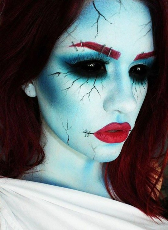 ghostly green makeup for halloween from thefashionspot