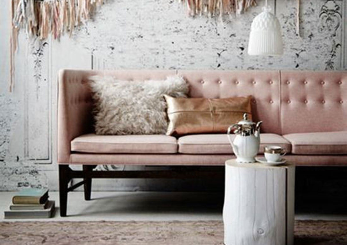 Pink, grey and rose gold interior design ideas