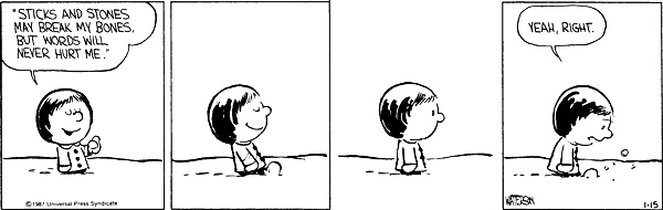 "2. When Calvin called Susie a ""booger-brain"" and made her cry."