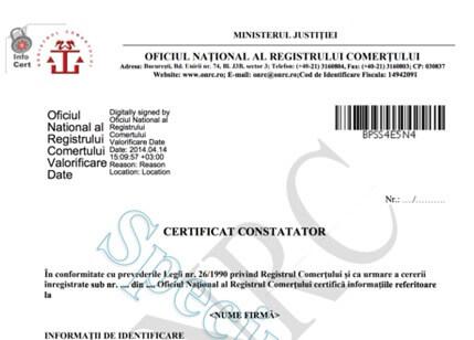 certificat constatator online