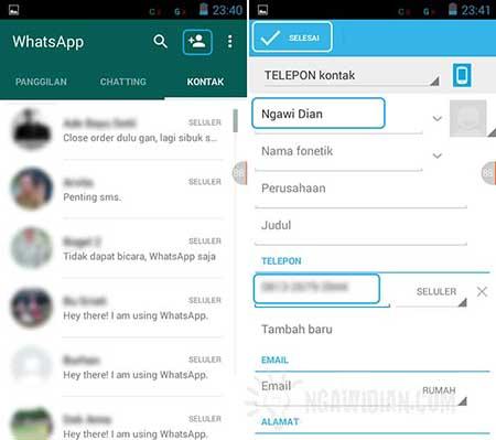 Cara Menambah Kontak baru di WhatsApp Android