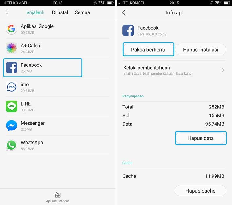 Hapus Data Aplikasi Facebook
