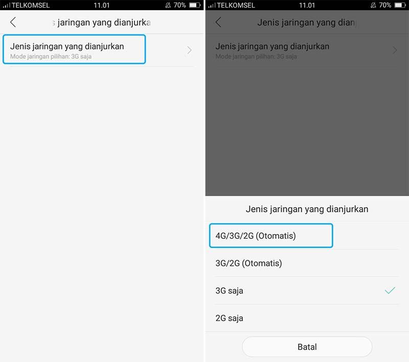Mengganti Sinyal 3G menjadi 4G LTE di OPPO
