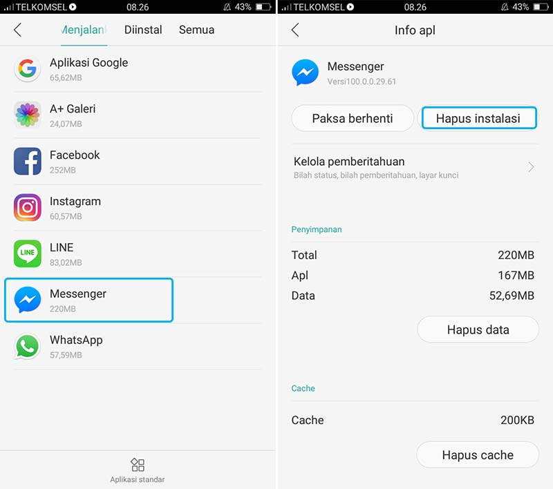 Uninstall Aplikasi Messenger