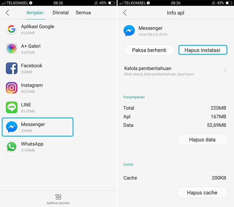 Uninstall Aplikasi Messenger