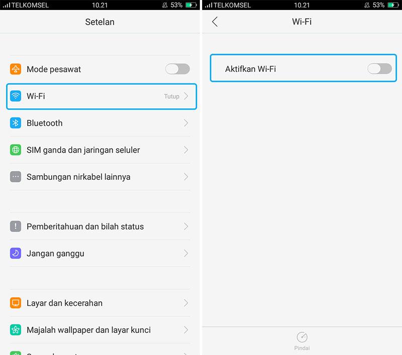 Aktifkan Wifi Android