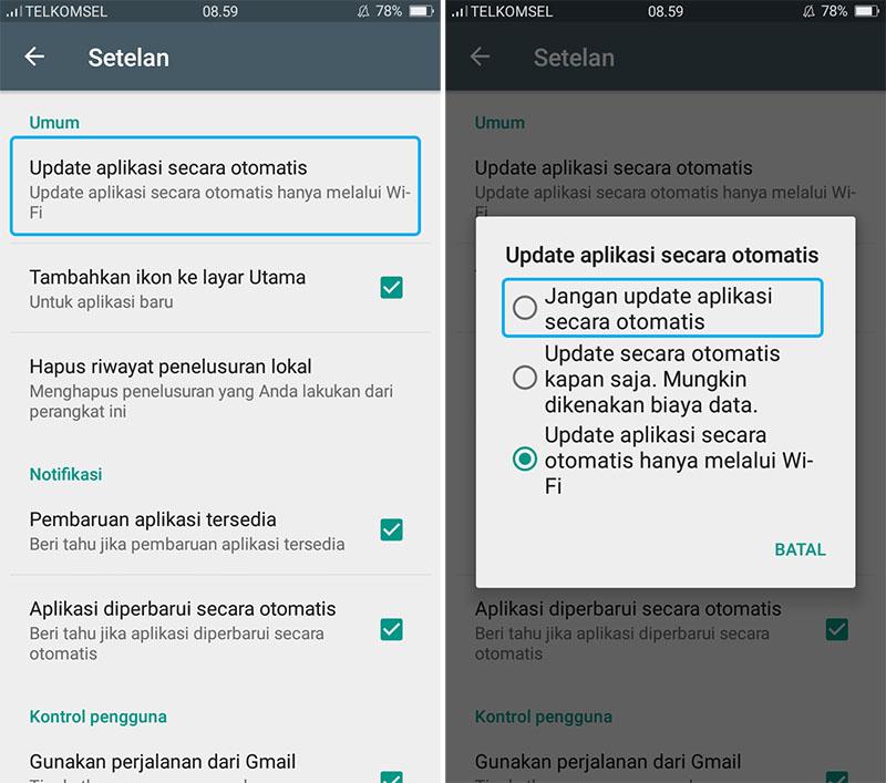 Matikan Update Otomatis Aplikasi