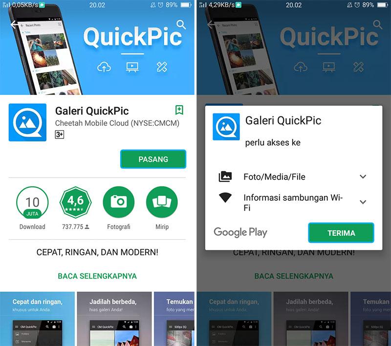 Pasang Aplikasi QuickPic