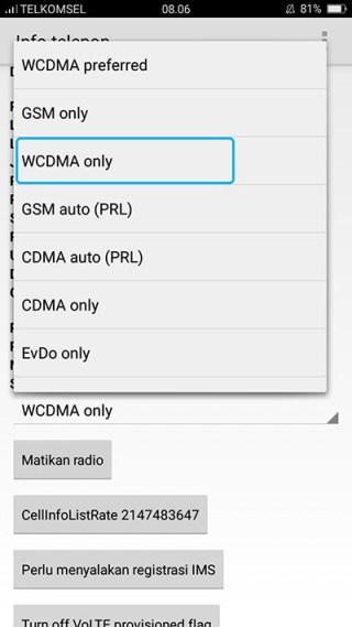 Pilih WCDMA Only