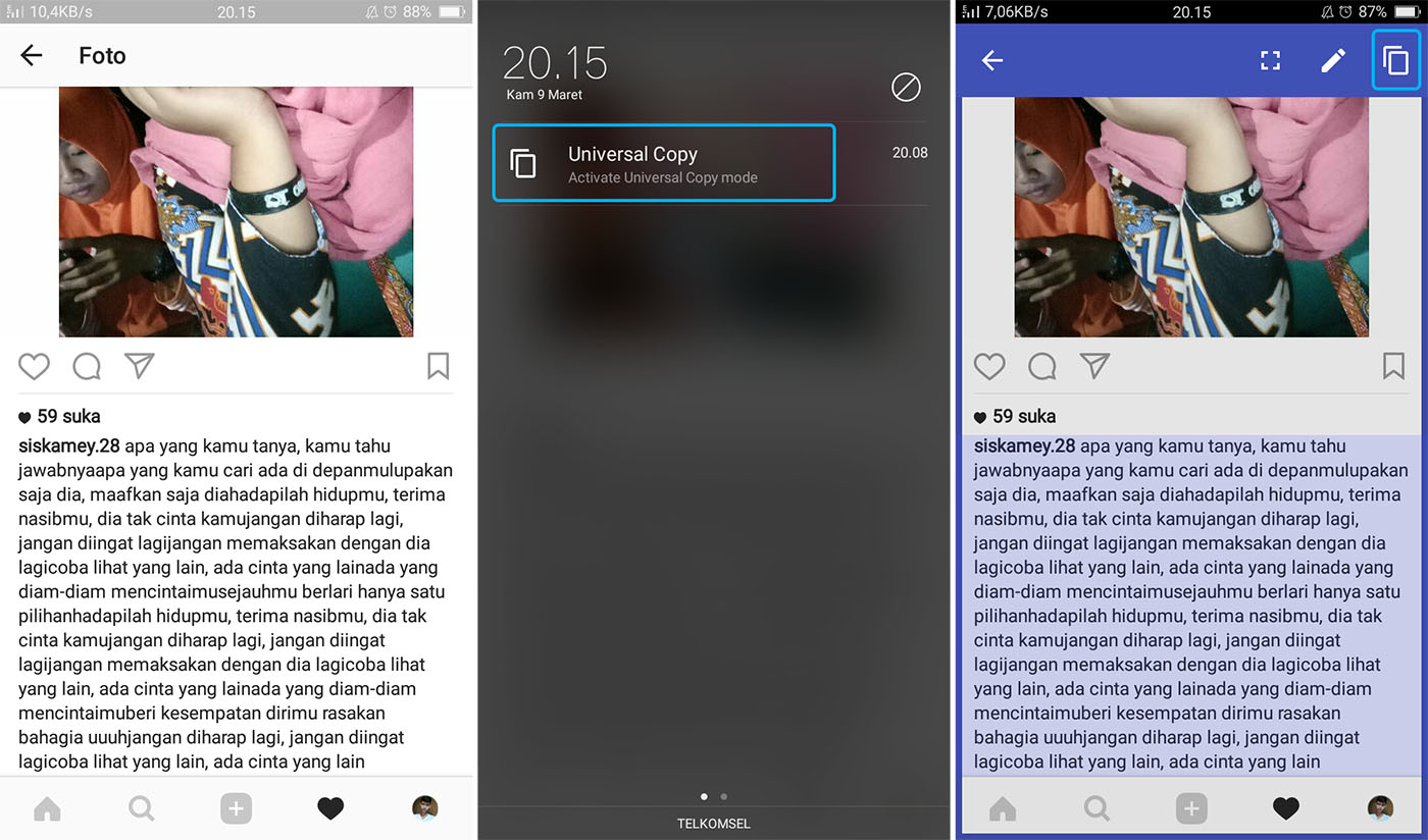 Salin Postingan Instagram Dengan Universal Copy