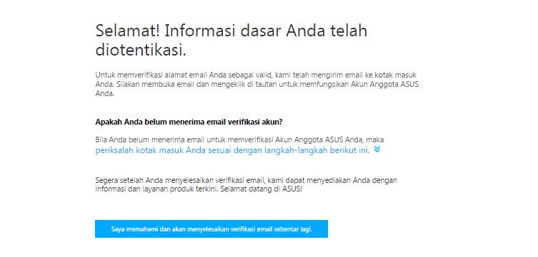 Konfirmasi Email ASUS ZenTalk Indonesia