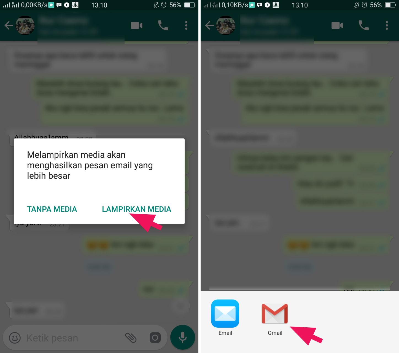 Lampirkan Medi WhatsApp ke Email 2