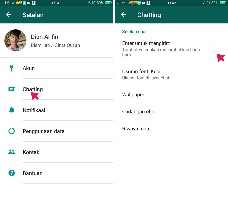 Menggunakan Tombol Enter Untuk Kirim Pesan di WhatsApp
