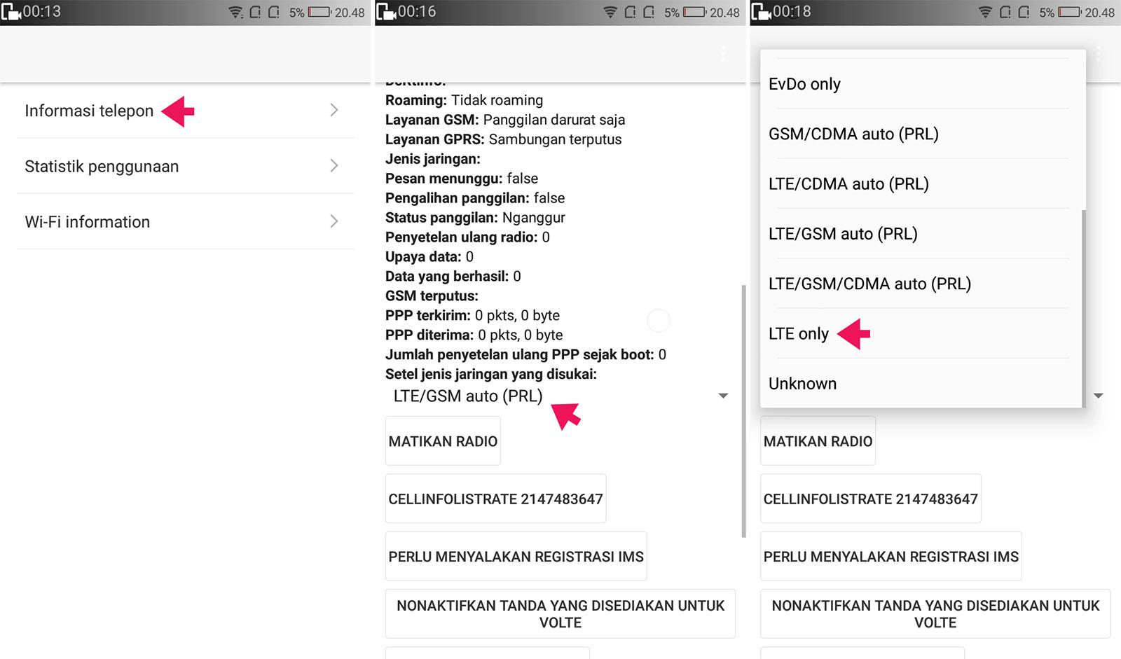 Mengubah Sinyal 3G Menjadi 4G LTE Only di Xiaomi