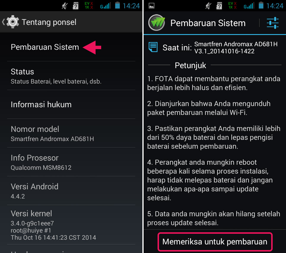 Update Sistem Android Dari Smartfren Andromax G2 AD681H