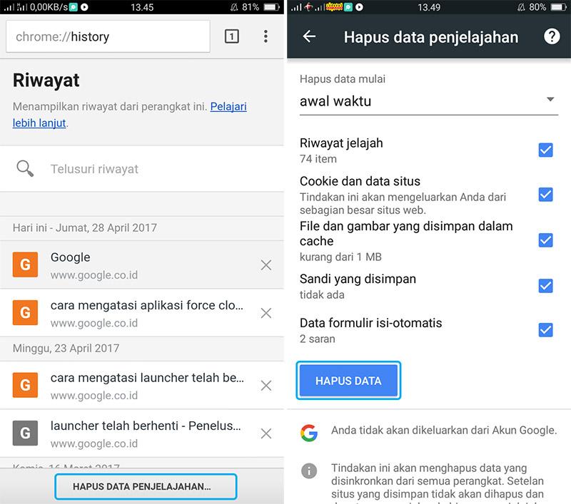 Hapus Cache dan Cookies Google Chrome Android