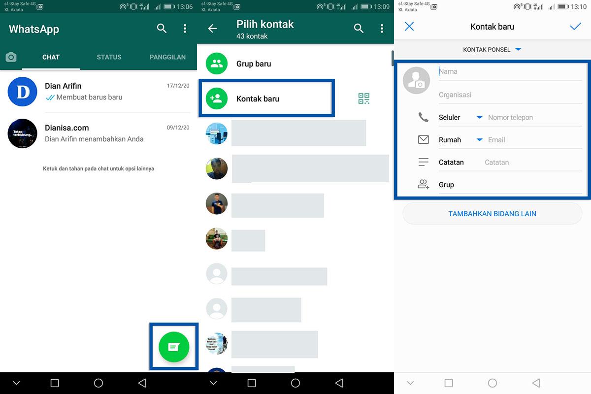 2 Menambahkan kontak baru WhatsApp