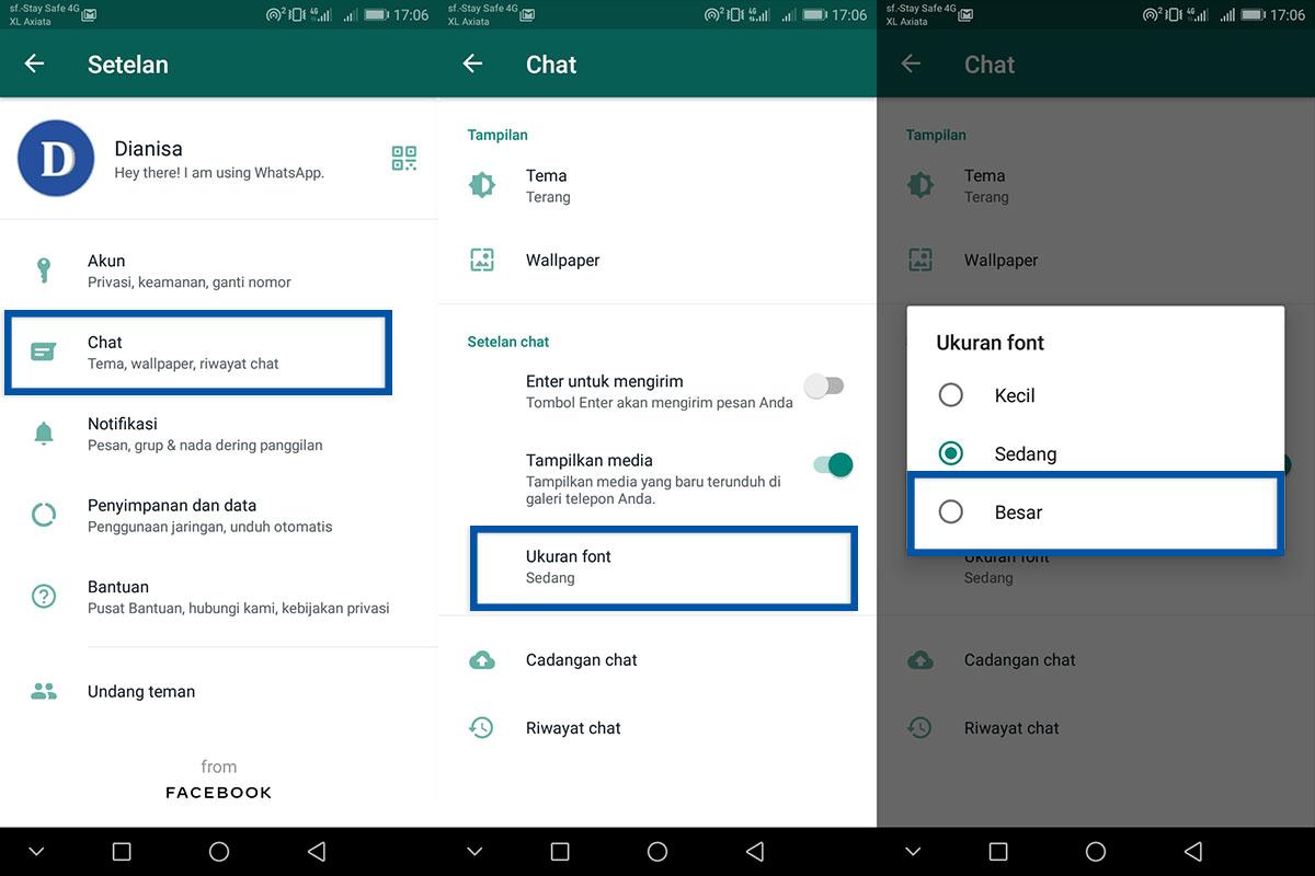 Tutorial mengubah ukuran font WhatsApp