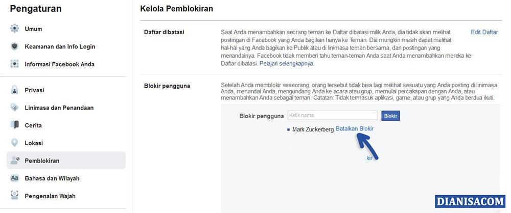 3 Batalkan Pemblokiran Pengguna Facebook