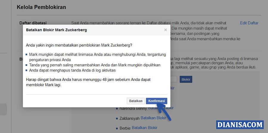 4 Konfirmasi Membuka Pemblokiran Facebook