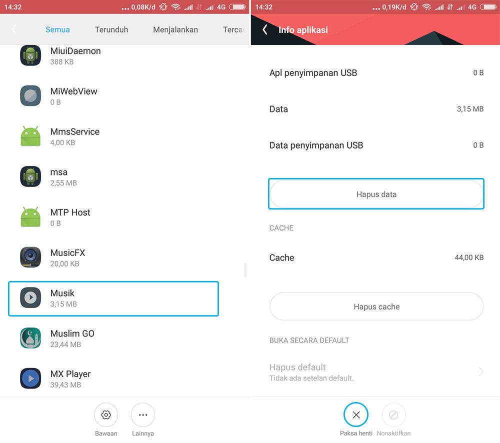 Hapus Data Musik Xiaomi