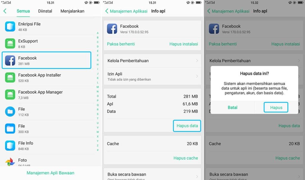 Hapus Data Aplikasi OPPO A71