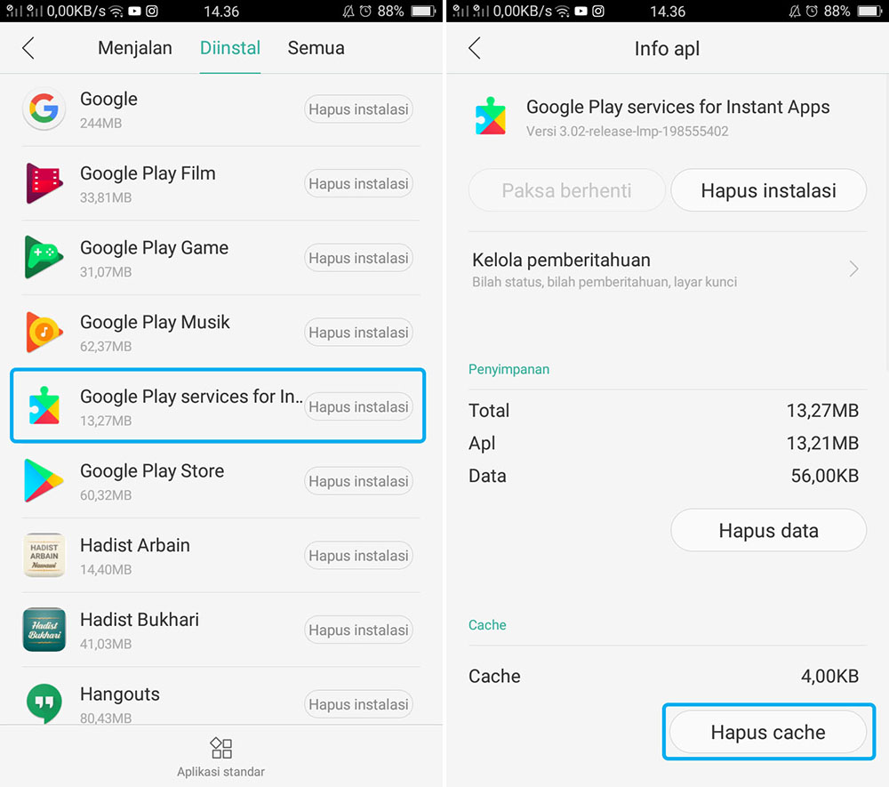 Hapus Cache Google Play Service For Instant Apps OPPO