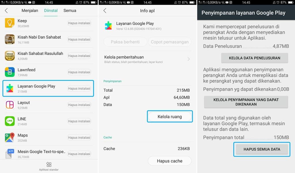 Hapus Data Layanan Google Play Store OPPO