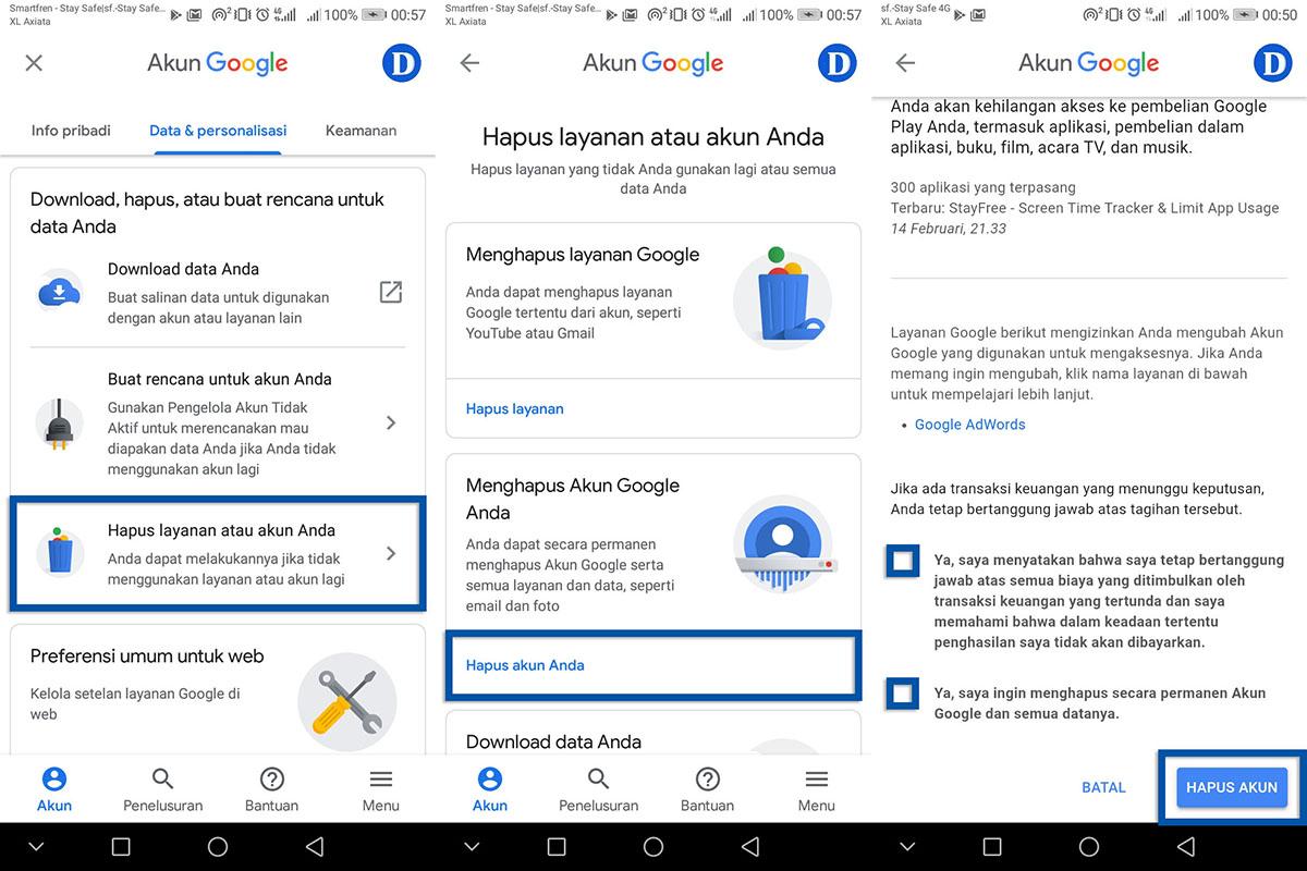 Menghapus Akun Google Android