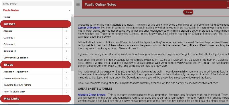 Pauls Online Math