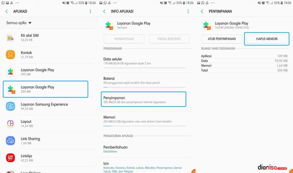 Hapus Cache Layanan Google Play SAMSUNG