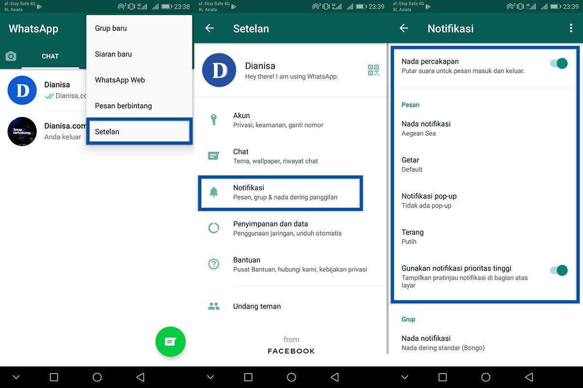 Cek Setelan Notifikasi WhatsApp