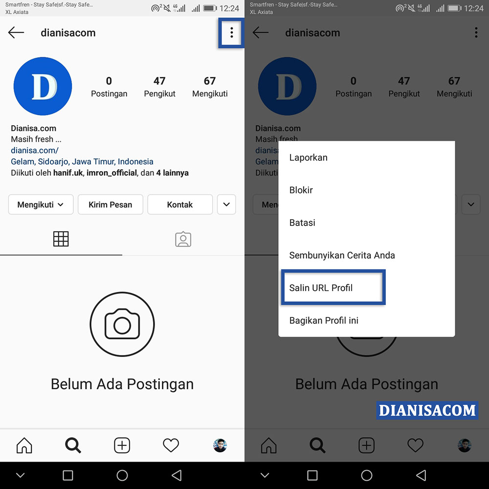 Copy URL Akun Instagram