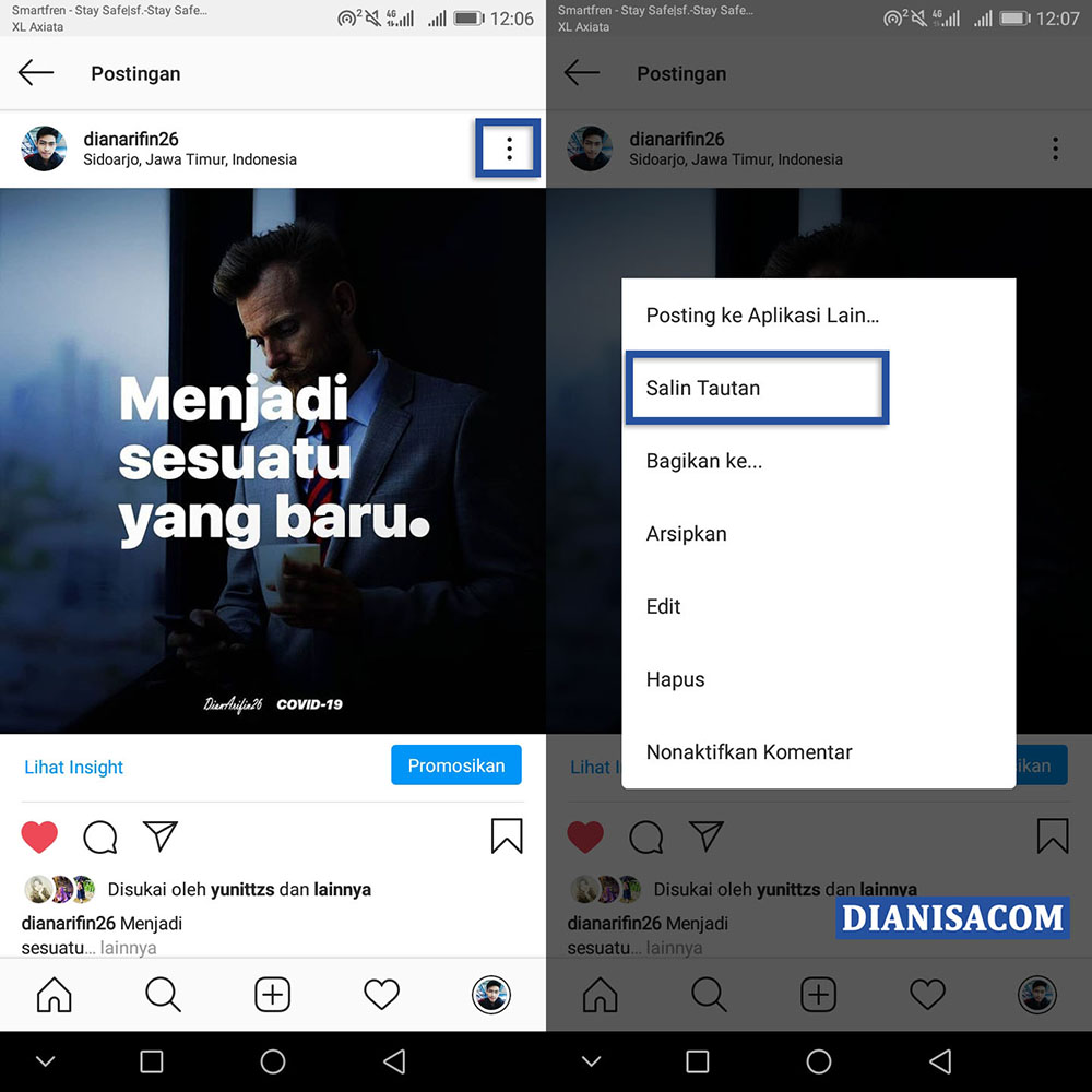 Copy URL Foto dan Video Instagram