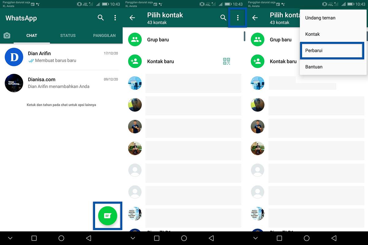 Perbarui daftar kontak WhatsApp