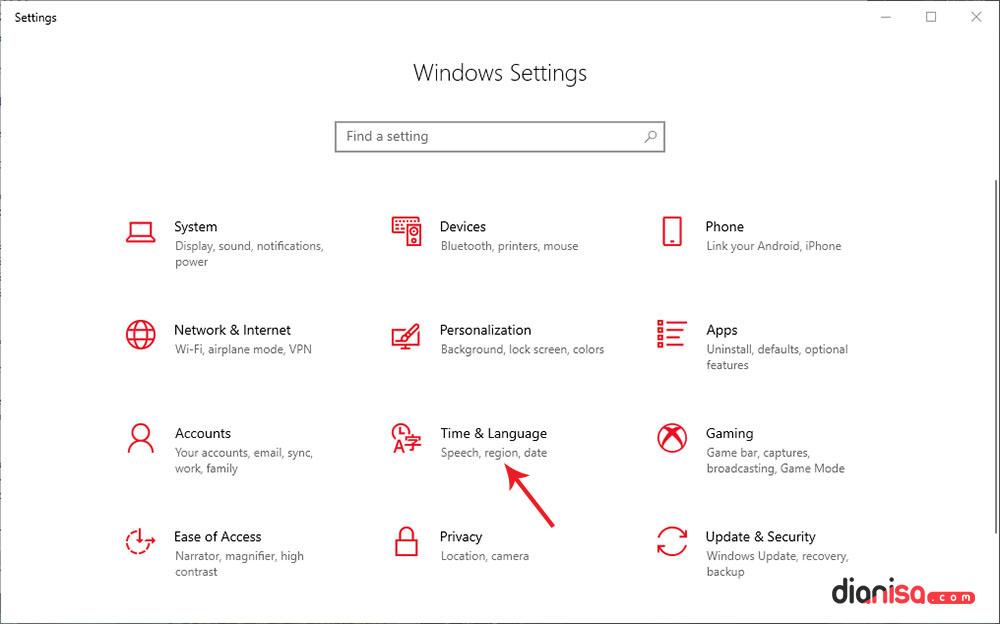 1. Setting Bahasa Windows