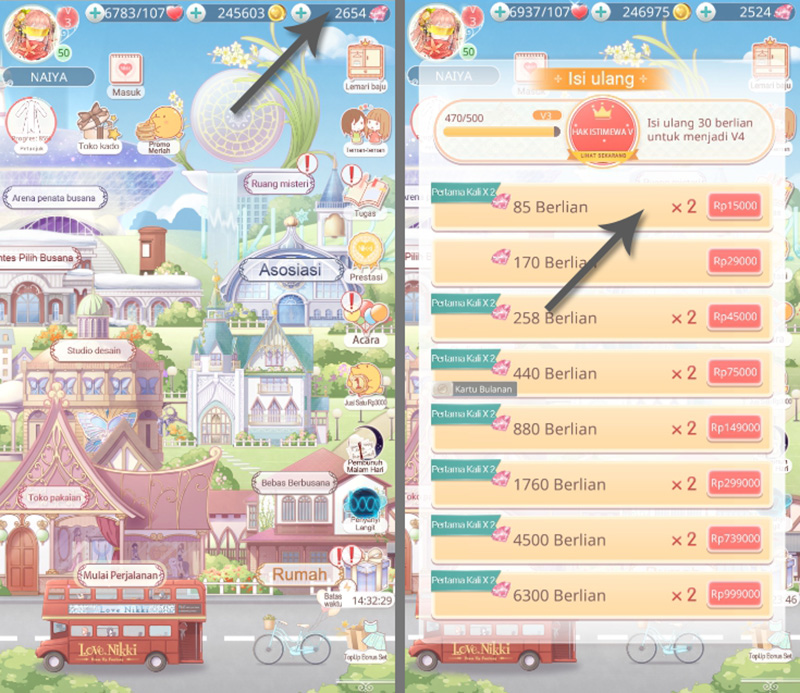 1. Top Up Love Nikki