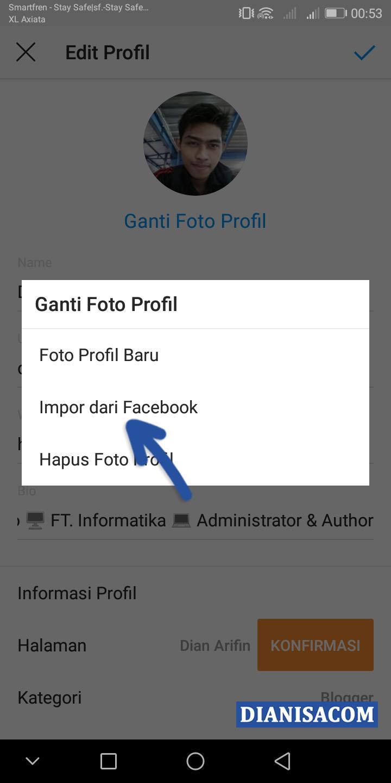 Ganti Foto Profil dari Facebook