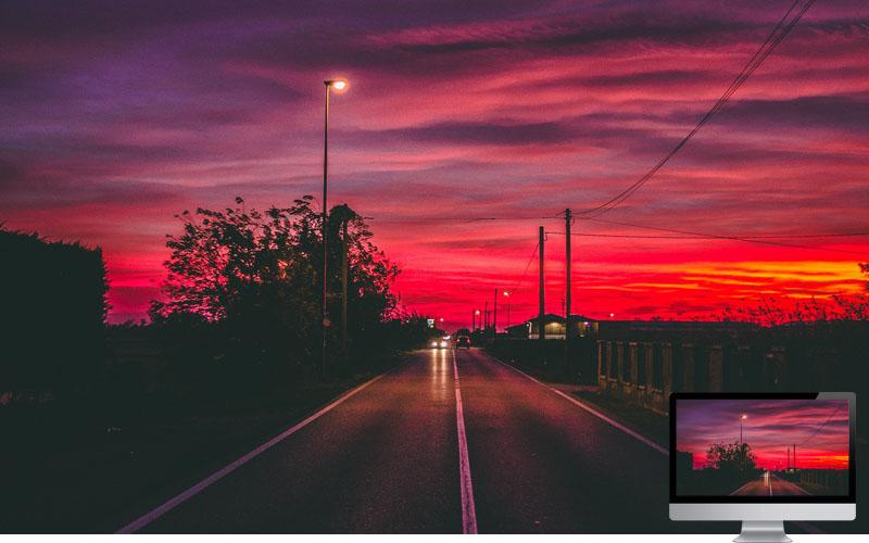 #11. Road Sunset Horizon Marking Wallpaper