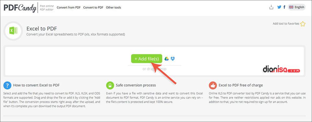 Convert Excel ke PDF di PDFCandy