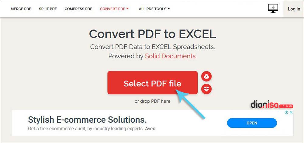 Convert PDF ke Excel di ILovePDF.com