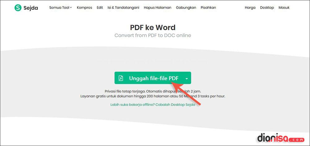Convert PDF ke Word Sejda