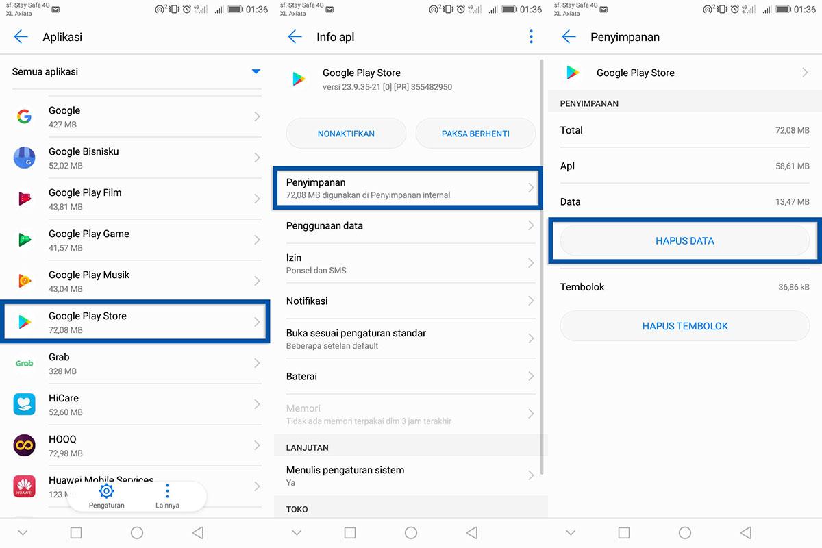 Hapus Data Google Play Store